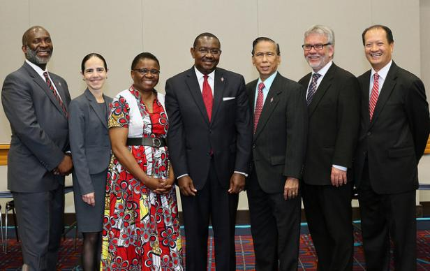 Members of the United Methodist Judicial Council for 2016-2020 met briefly during General Conference 2016. From left are the Rev. Dennis L. Blackwell, Beth Capen, the Rev. J. Kabamba Kiboko, N. Oswald Tweh Sr., Ruben Reyes, the Rev. Øyvind Helliesen, and the Rev. Luan-Vu Tran of Lakewood, Calif. Not pictured are Deanell Reese Tacha and Lídia Romão Gulele. Photo by Kathleen Barry, UMNS