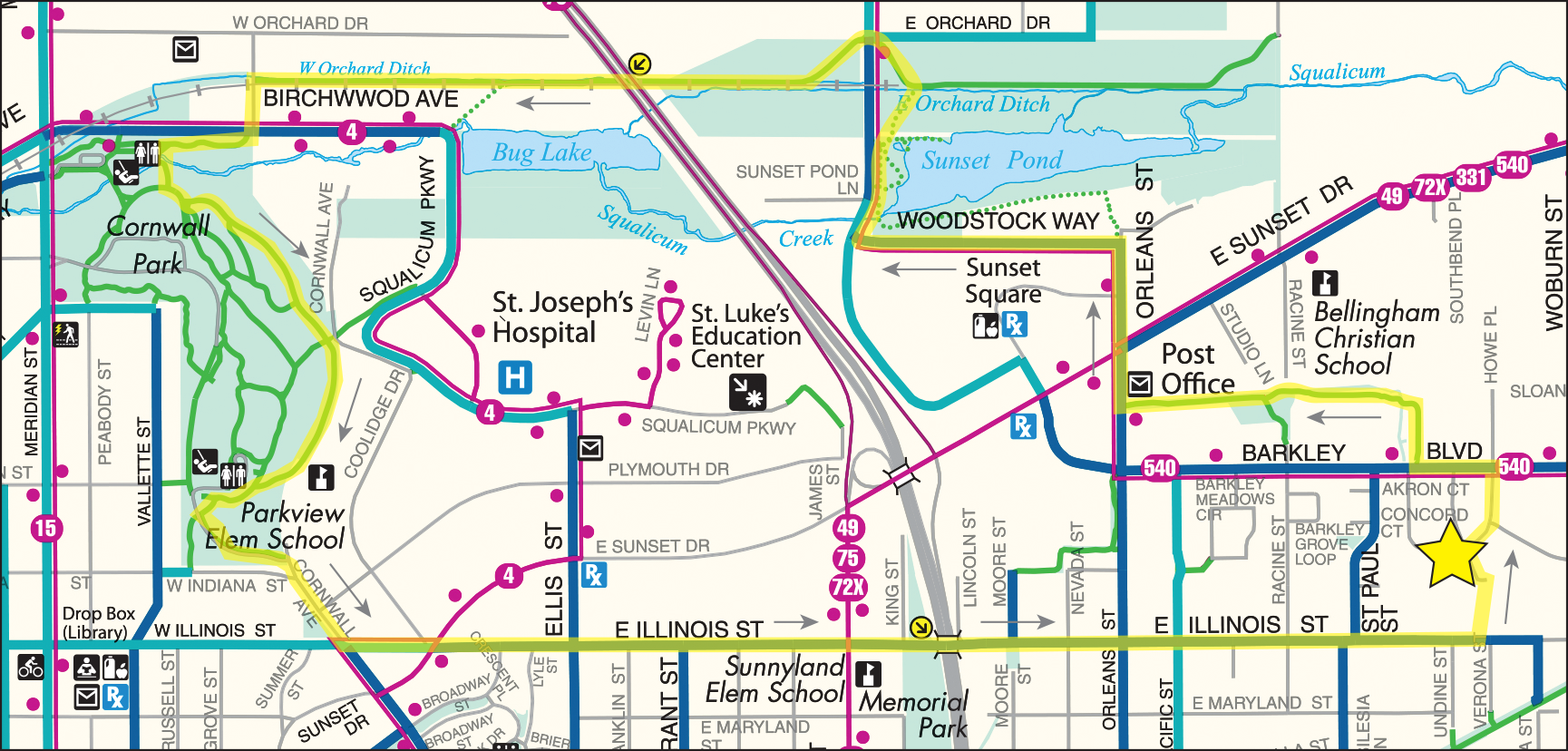 Barkley Village to Cornwall Park Loop Map