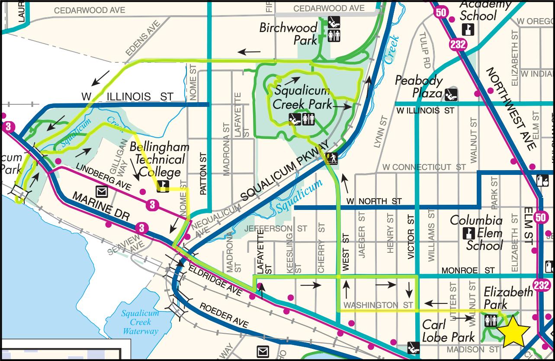 Elizabeth Park to Little Squalicum Park Map