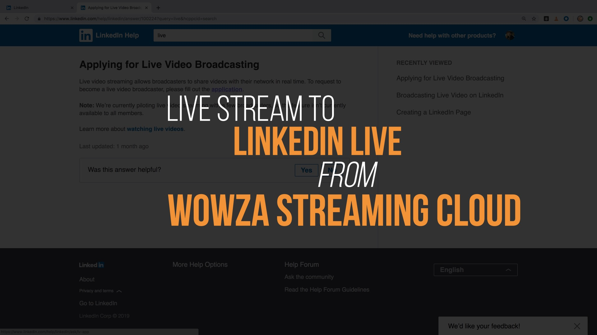 Stream to LinkedIn Live from Wowza Streaming Cloud