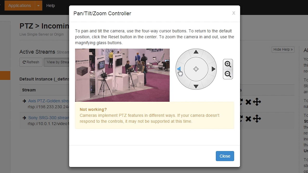 Wowza Streaming Engine PTZ Integration for Axis and Sony IP Cameras