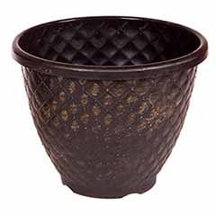 'Pinecone' Round Planter 28cm (11in) Black with Gold