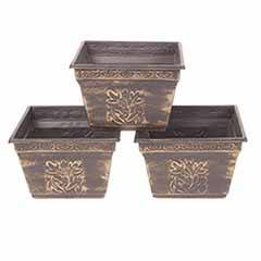 Set of 3 Metallic Effect Square Planters 20cm