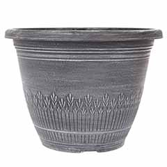 'Wheat Bundle' Round Planter 28cm (11in) Brushed White