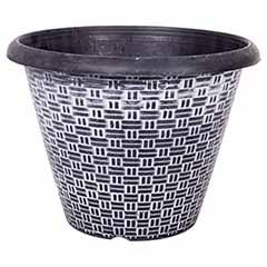 'Wicker' Pattern Round Planter 30cm (12in) Black Silver