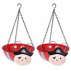 Pair of Pirate Wobblehead Hanging Baskets
