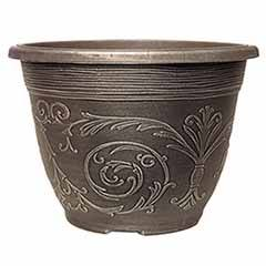 'Alhambra' Round Planter 20cm (8in) Brushed Champagne