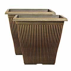 Pair of Black Bronze Vertical Square Planters