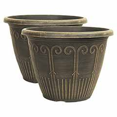 Pair of Cocoa Gold Art Deco Planters