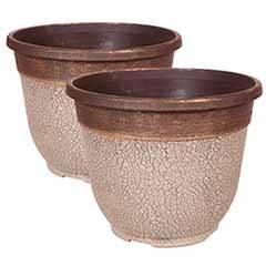Pair of 'Crackle' Round Planters 30cm (12in) Ceramic White