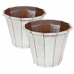 Pair of 'Callista' Round Planters 30cm (12in) Vintage Rust