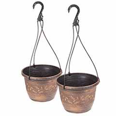 Pair of 'Acorn' Hanging Baskets 25cm (10in) Copper-Tone