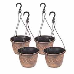 Set of 4 'Acorn' Hanging Baskets 25cm (10in) Copper-Tone