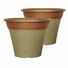 Pair of 'Isabella' Round Planters 30cm (12in) Patina Fusion
