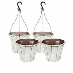 Set of 4 'Callista' Round Planters and Baskets 25-30cm (10-12in) Vintage Rust