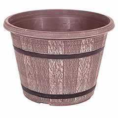 'Cask' Planter 40cm (16in) Driftwood Effect