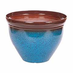 Ceramic Look Planter 39.5cm (15.5in) Mottled Blue