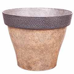 'Diablo' Round Planter 39cm (15in) Brown