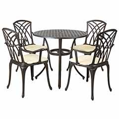 Charles Bentley  Cast Aluminium 4 Seater Dining Set Black with Cream Cushions