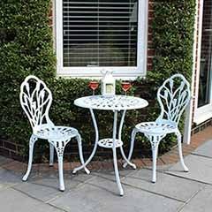 Charles Bentley Cast Aluminium Tulip Bistro Set Table & 2 Chairs - White