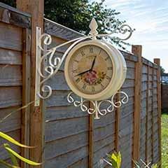Charles Bentley Cream Vintage Double Sided Metal Bracket Wall Clock