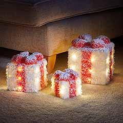 Set of 3 Lit Gifts - White