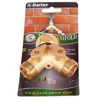 Two Way Hose Manifold Brass