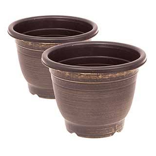 Pair of Groove planters Black & Gold 30cm