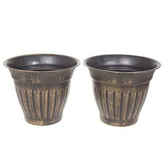 Pair 13.5' (34cm) Fluted Gold Planters