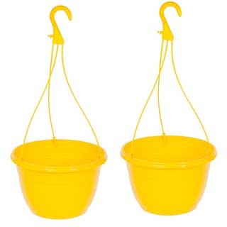 Yellow Hanging Baskets - Pair