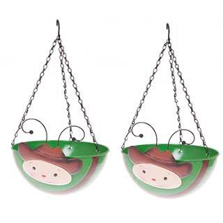 Pair of Cowboy Wobblehead Hanging Baskets