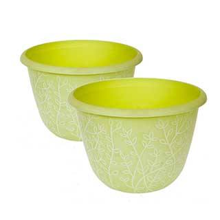 Pair of Pastel Green Serenity Planters