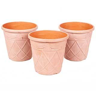 10in Terracotta Tuscany Roman Planters x 3