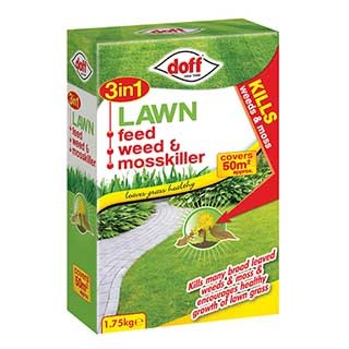 Doff 3 in 1 Lawn Feed, Weed & Mosskiller 1.75Kg 50m2 pack