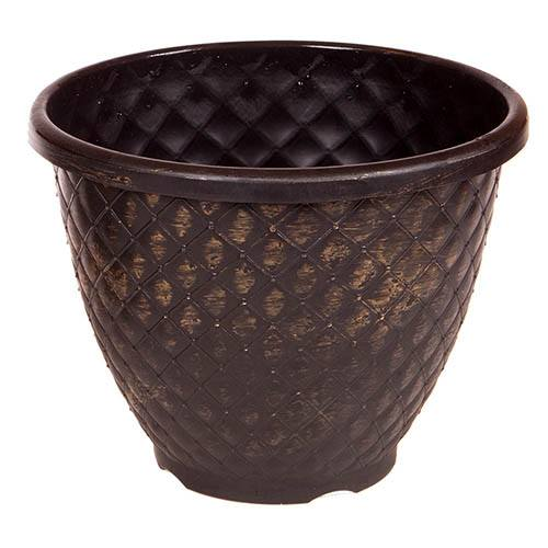 Pinecone Round Planter 28cm (11in) Black with Gold