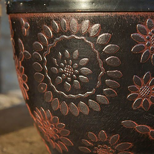 Pair of 12 diameter Copper effect outdoor planters
