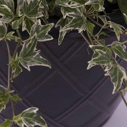 Pair of Rhombus Black & Copper Planters 27cm