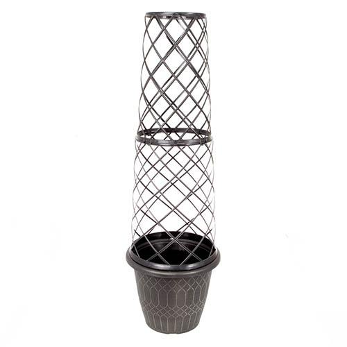 Empire Round Tower Pot & Trellis 1.3m (4ft 4in) Gold and Black