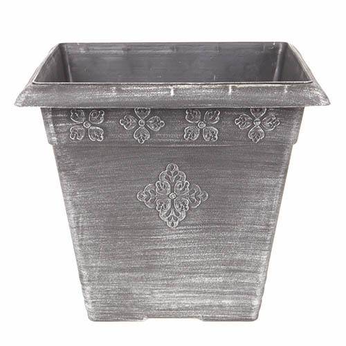 Square Plastic Planter Silver 40cm - 30 litres