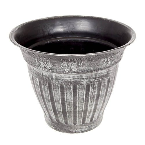 13.5 34cm Floral Fluted Planter Silver