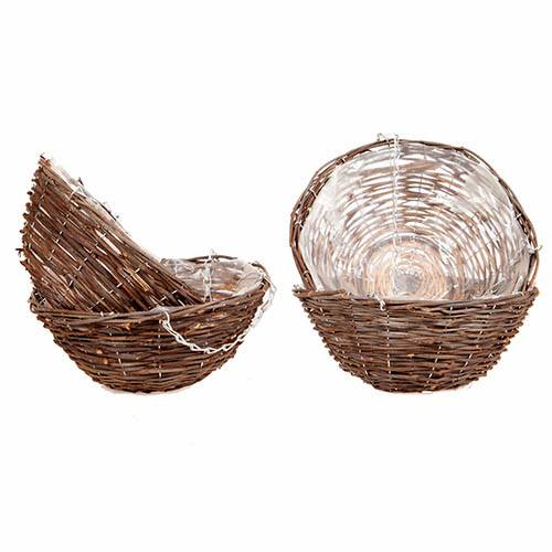 Set of 4  x 12 Rattan Hanging Baskets