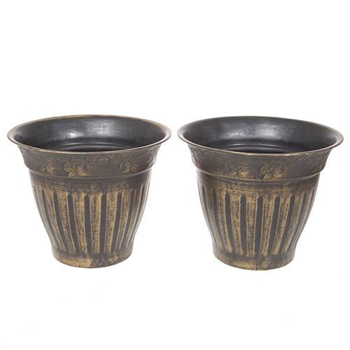 Pair 13.5 (34cm) Fluted Gold Planters
