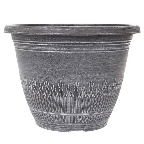 Wheat Bundle Round Planter 28cm (11in) Brushed White