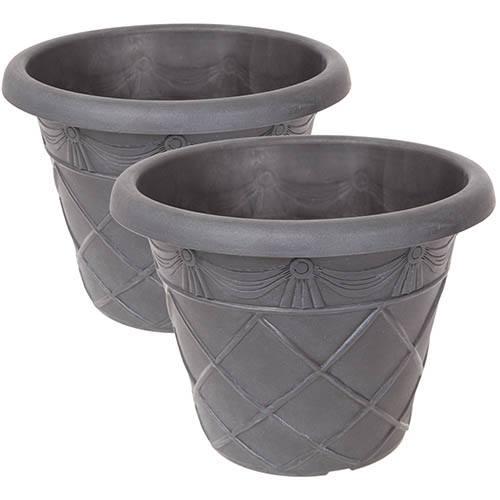 Tuscany Roman Ebony Grey Planters