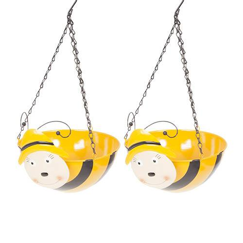 Pair of Bumblebee Wobblehead Hanging Baskets