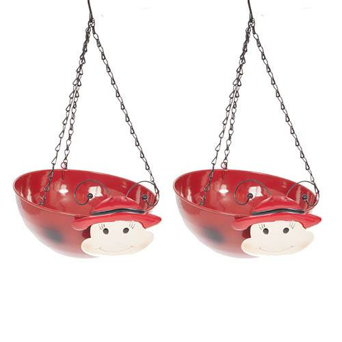 Pair of Ladybird Wobblehead Hanging Baskets