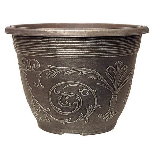 Alhambra Round Planter 20cm (8in) Brushed Champagne