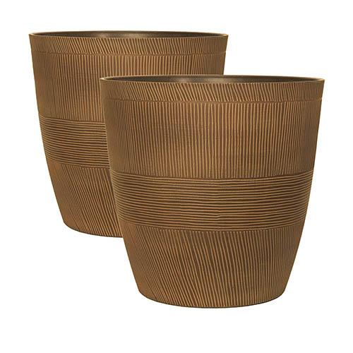 Pair of Caramel Sand Thatched Planters