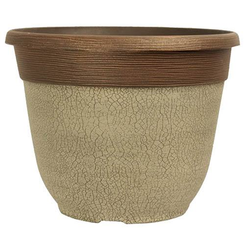 Crackle Round Planter 30cm (12in) Ceramic White