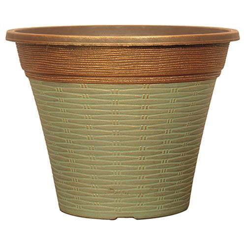 Isabella Round Planter 30cm (12in) Patina Fusion Weave-Effect